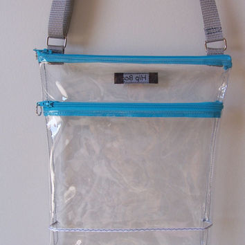 Clear Transparent Vinyl Color Accent Stadium Security Small Zipper Hipster/Shoulder/Crossbody Bag/Purse/Cross body/Game Day/Gift Idea
