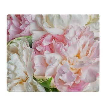 BLOOMING PEONIES THROW BLANKET