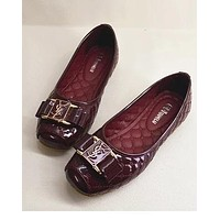 YSL Fashion Women Shoes Comfort flat shoes Egg roll Shoes Wine Red