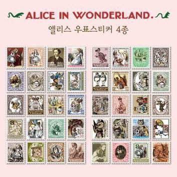 4 Pcs/pack Diy Vintage Retro Paper Stickers Alice In Wonderland Stamp Sticker For Diary Scrapbooking H0107