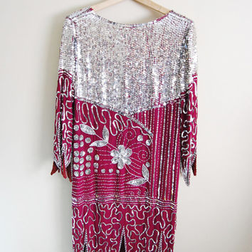 Flapper Fab - Vintage 80s Maroon Silver Sequin Deco Dress