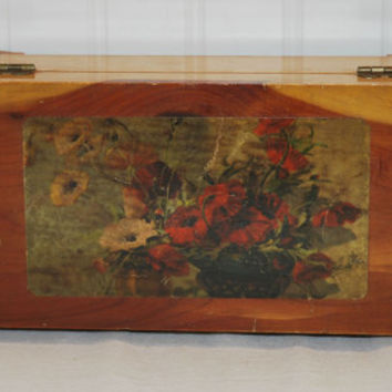 Vintage Small Cedar Box With Decoupaged Floral Picture, Rectangular,  Jewelry Box, Trinkets, Love Letters, Housewarming Gift Idea 15MV67