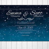 Wedding under the stars romantic night sky dark blue horizon PRINTABLE invitations
