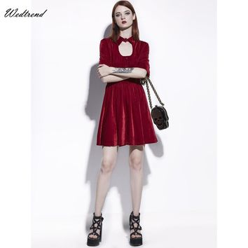 Wedtrend O-Neck Hollow Red Velvet Women Dress High Quality Soft Fabric Comfortable Lady Dress Party Elegant Cheap Causal Dresses