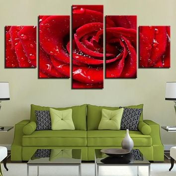 Canvas Prints Poster Framework Living Room Wall Art Pictures 5 Pieces Bright Dew Red Rose Flower Water Drops Painting Home Decor