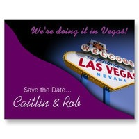 Las Vegas Save The Date (purple) Post Card from Zazzle.com