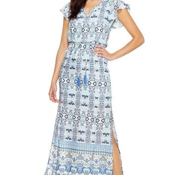 Adrianna Papell V-Neck Short Sleeve Tie Neck Blouson Paisley Dress