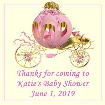Princess Baby Shower Favor Tags Carriage