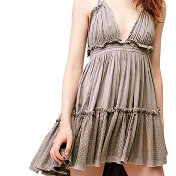 BOHO Taupe/Khaki Ladies Spring/Summer Multi Ruffle Halter Dress