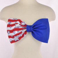 New Padded Thinner USA Flag America Stars Stripes Bow Patriotic Red White Blue Bandeau Women's Fashion Top Handmade