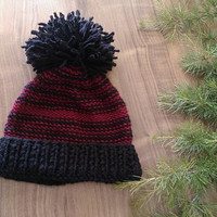 Super Big Pompon Black Hat, Red Striped Knitt Beanie, Black Striped Beanie, Black Pompon Hat,Pompon Beanie,Knitt Black Hat,Black Crochet Hat