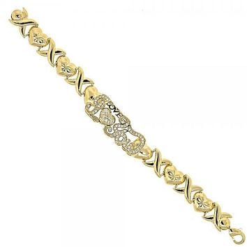 Gold Layered 10.180.0004.08 Fancy Bracelet, Hugs and Kisses and Heart Design, with White Cubic Zirconia, Diamond Cutting Finish, Golden Tone