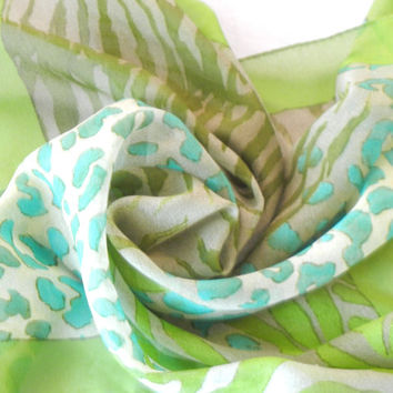 Wildcat Animal Print Chiffon Scarf, Leopard, Tiger, Lime Green and Turquoise Blue, Small Square