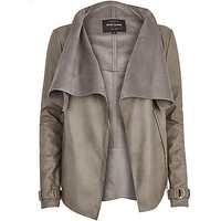 River Island Womens Grey leather-look waterfall jacket