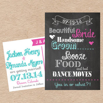 "Chalkboard Save the Date Postcard- ""Beautiful Bride, Handsome Groom, Booze, Food and Bad Dance Moves"" Custom DIY Printable"