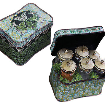 Tin Box with Glass Bottles, Green, Jars, Canisters, Tins & Bottles