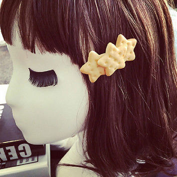 Kawaii Biscuit Hair Clips Creative Star Heart Clip Kids Hair Accessories