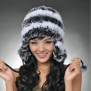 2017 Super warm winter women genuine rex rabbit fur hat ear muffs Rex Rabbit cap lady luxury fur hat High quality