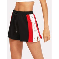 Side Striped Button Embellished Shorts Sporty