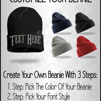 Custom Beanie, Create Your Own Beanie, Personalize Your hat, Custom Winter Hat, Customize Beanie Skully Cap, Custom Embroidery, Best Gift