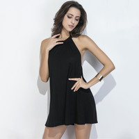 Loyally Elegant Women Summer  Sexy Backless Halter Mini A-line Dress
