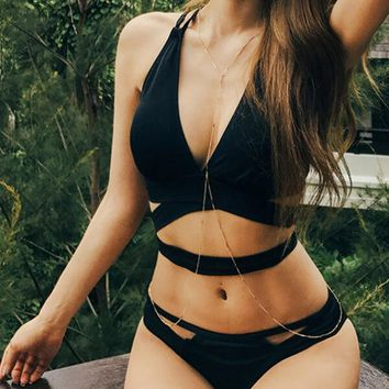 Black Criss Cross Cut Out Bikini