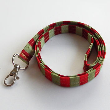 Christmas Lanyard / Red & Green / Christmas Keychain / Gold / Holiday / Key Lanyards / ID Badge Holder / GIft Ideas / Stocking Stuffers