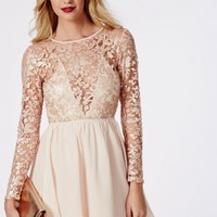 Missguided - Addison Sequin Lace Skater Dress Nude