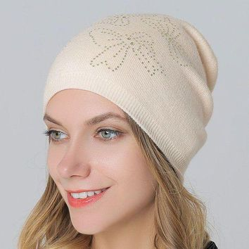 ac PEAPON Wool Knit Winter Hot Sale Double-layered Ladies Rhinestone Pullover Hats [110448574489]