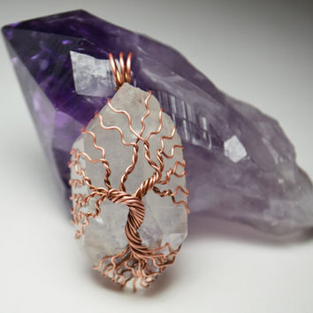 Wire Wrapped Tree of Life Pendant Raw Quartz Crystal Point and Bare Copper Wire Metaphysical Jewelry Gemstone Celtic Yggdrasil Pendant