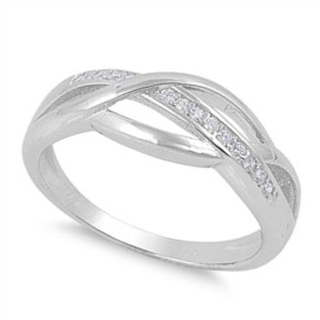 925 Sterling Silver CZ Line of Infinity Ring 7MM