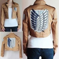 Attack on Titan Jacket Halloween Costume for women men Shingeki no Kyojin Coat Cosplay cartoon Jackets crop top Plus Size