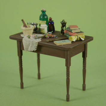 Small Witches Potion Table for Spell Making - 1:12 or 1/12 Scale Dollhouse Miniature, Compact Rustic Cottage or Farmhouse Kitchen Table