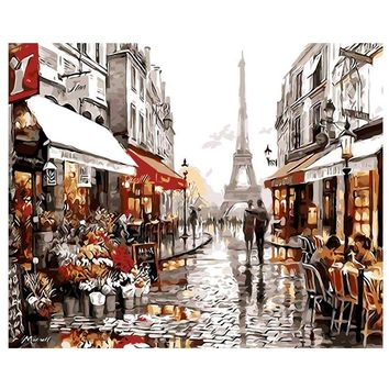 Wall Decor Paris Street DIY Painting By Numbers Handpainted Canvas Painting Home Wall Art Picture for Living Room Unique 40X50