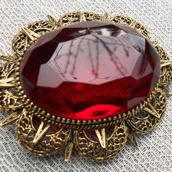 Signed ART(c) -Mode Art-Ruby Red Victorian Steampunk Brooch
