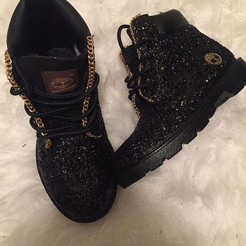 customized black timberland