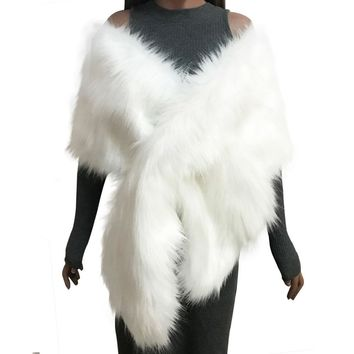 Women Faux Fur Coat Ponchos Capes Bridal Wedding Dress Wraps Fluffy Vest Winter Coats Shawl Cape Black White Pink Fur Coat