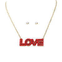 Papaya Clothing Online :: SPIKED LOVE PENDANT NECKLACE W/ RHINESTONE STUD EARING SETS
