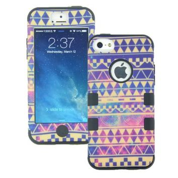MagicSky PC + Silicone Galaxy Tribal Pattern Case for Apple iPhone 5C - 1 Pack - Retail Packaging - Black