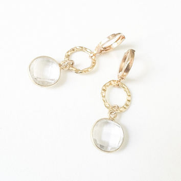 Gold Circle Quartz Faceted Round Rock Crystal Dangle Leverback Earrings Free USA Shipping
