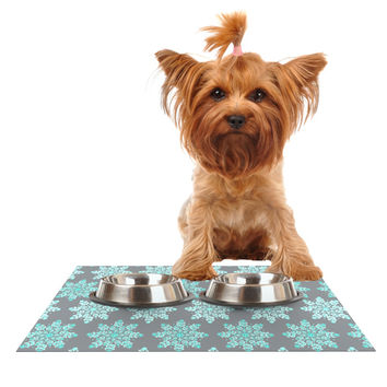"Anchobee ""Blue Christmas"" Blue Gray Dog Place Mat"