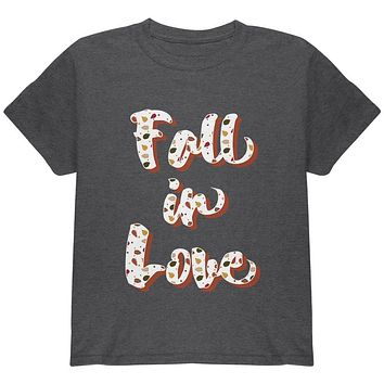 Autumn Fall in Love Leaves Pattern Youth T Shirt