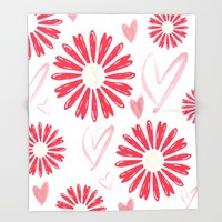 Hearts And Flowers Throw Blanket by ALLY COXON | Society6