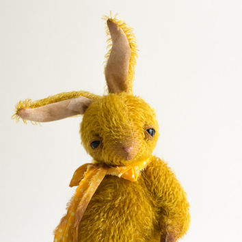 Made to order Easter Gold Mohair Bunny Egor - Stuffed Rabbit - Soft Toy Bunny - Stuffed Animal - Artist Teddy Bears