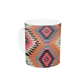 "Amanda Lane ""Southwestern Dreams"" Orange Pink Ceramic Coffee Mug"