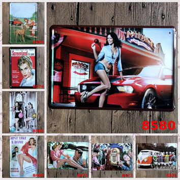 Old School Pin Up Girls Metal Sign Wall Posters Retro Tin Pop Art Wall Décor for Retail Stores Bistro Bars