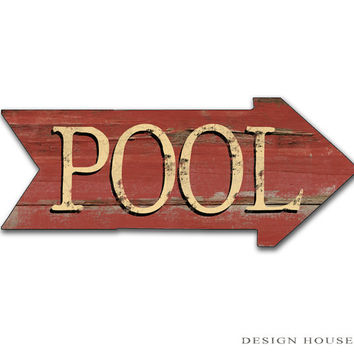 Pool Signs Patio Signs Swimming Pool Signs Summer Signs Summer Plaques Red Arrows Blue Arrow Wooden Arrows Homemade Arrows Pool Decor