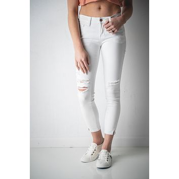 Addy White Distressed Kan Can Jeans