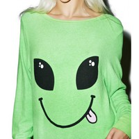 Wildfox Couture I Come In Peace Baggy Beach Jumper   Dolls Kill