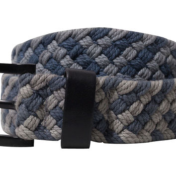 Men's Woven Cotton Belt, Gray/Blue, Belts